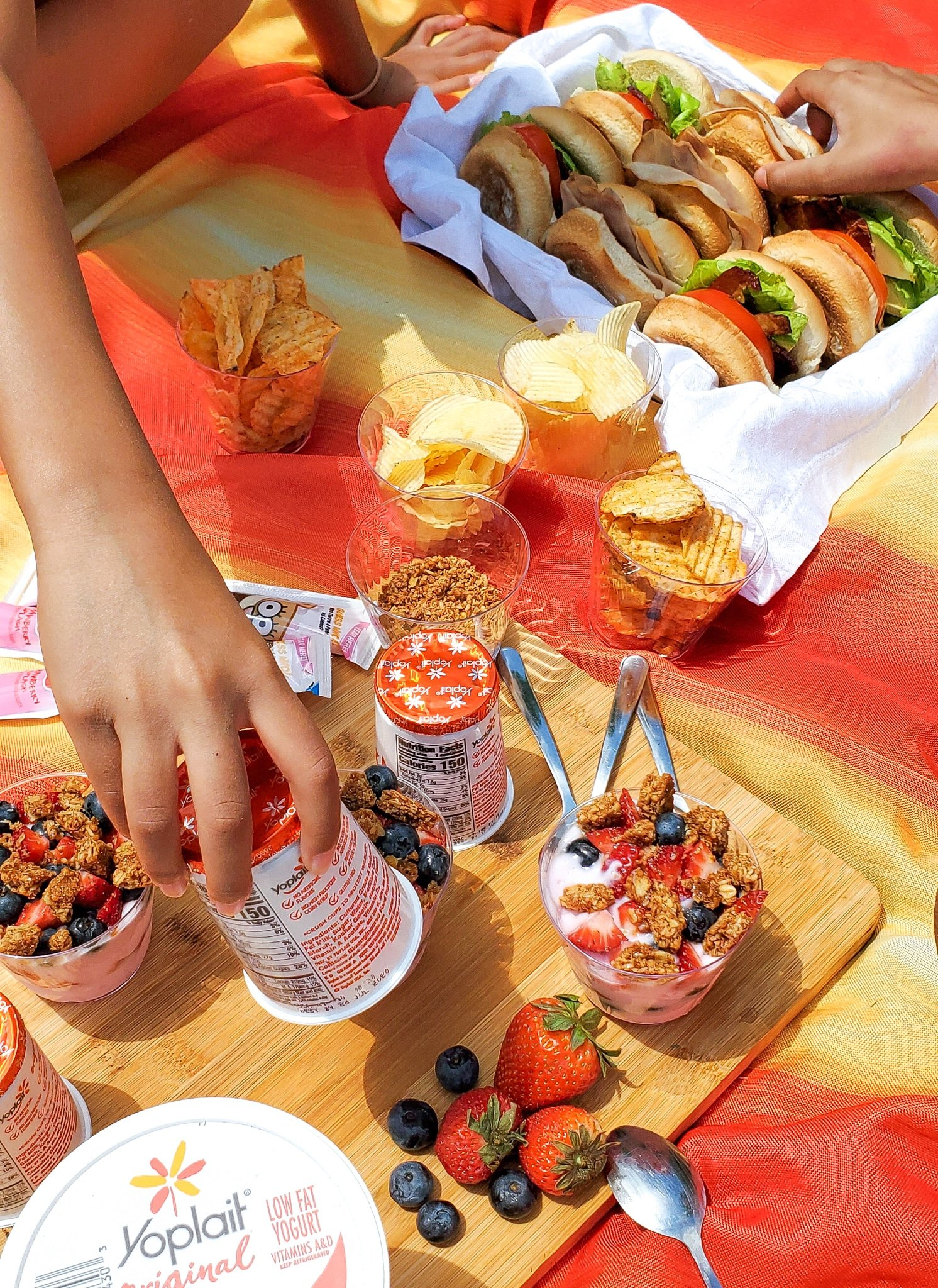 Backyard Picnic with Yoplait Food Spread. Grab your picnic baskets! It's time to host your very own backyard picnic featuring the foods your family loves. No need to leave home for this bunch of fun, just pick a date and then prep your picnic baskets.
