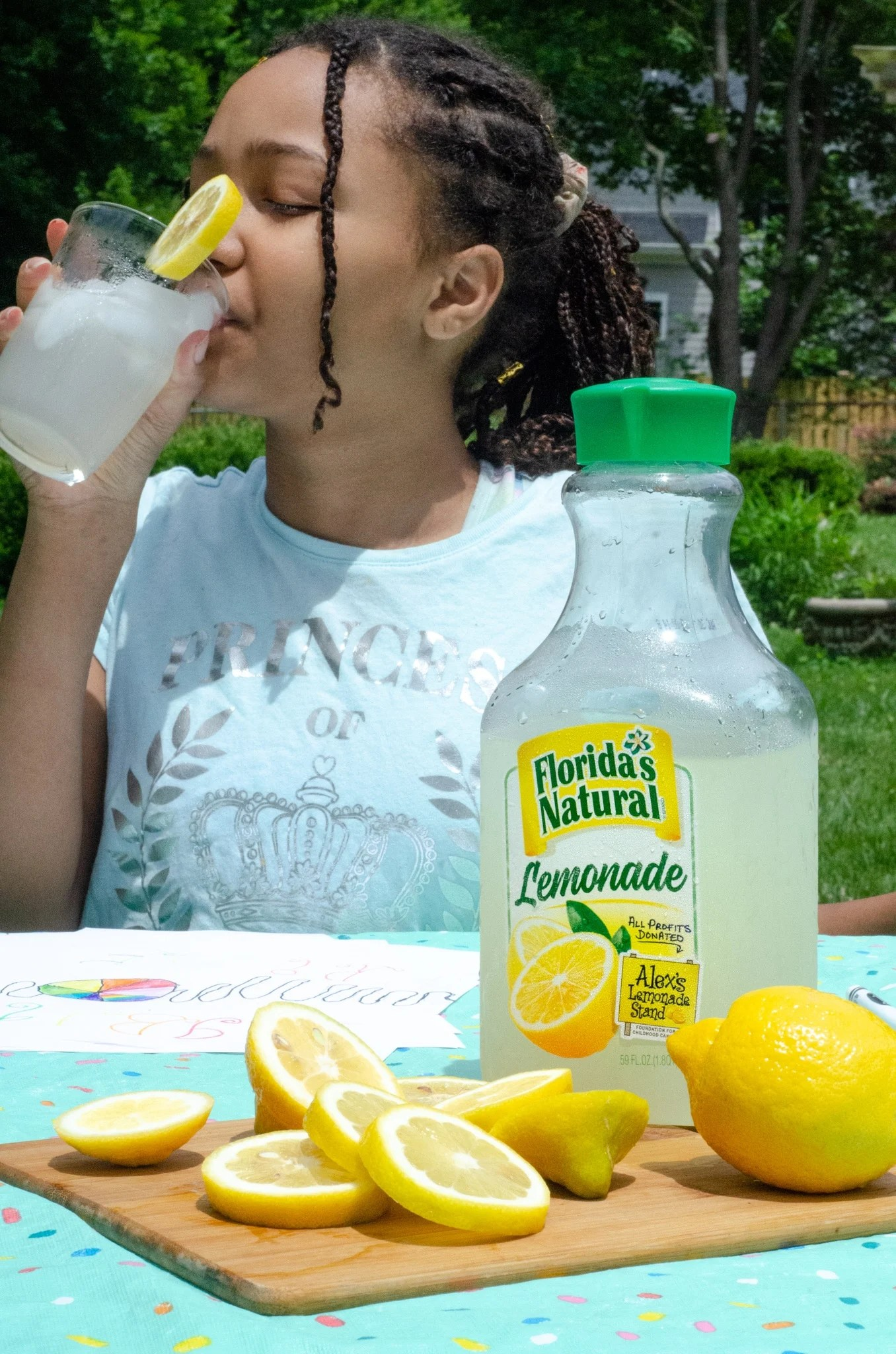 Lemonade Inspired Art Keturah Drinking Lemonade. Looking for a fun way to keep the kids entertained this summer? Celebrate the start of summer with Lemonade-Inspired Art In the Backyard.