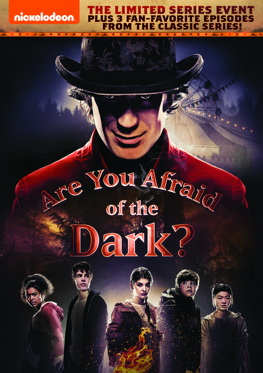 Re-imagined for a new generation, Nickelodeon's all-new version of '90's kids' cult classic Are You Afraid of the Dark? arrives on DVD Tuesday, August 11, 2020. The three-part limited series follows members of an entirely new Midnight Society, who tell a terrifying tale of the Carnival of Doom and its evil ringmaster Mr. Top Hat, only to witness the shocking story come frightfully to life and prepare for an adventure beyond their wildest nightmares.