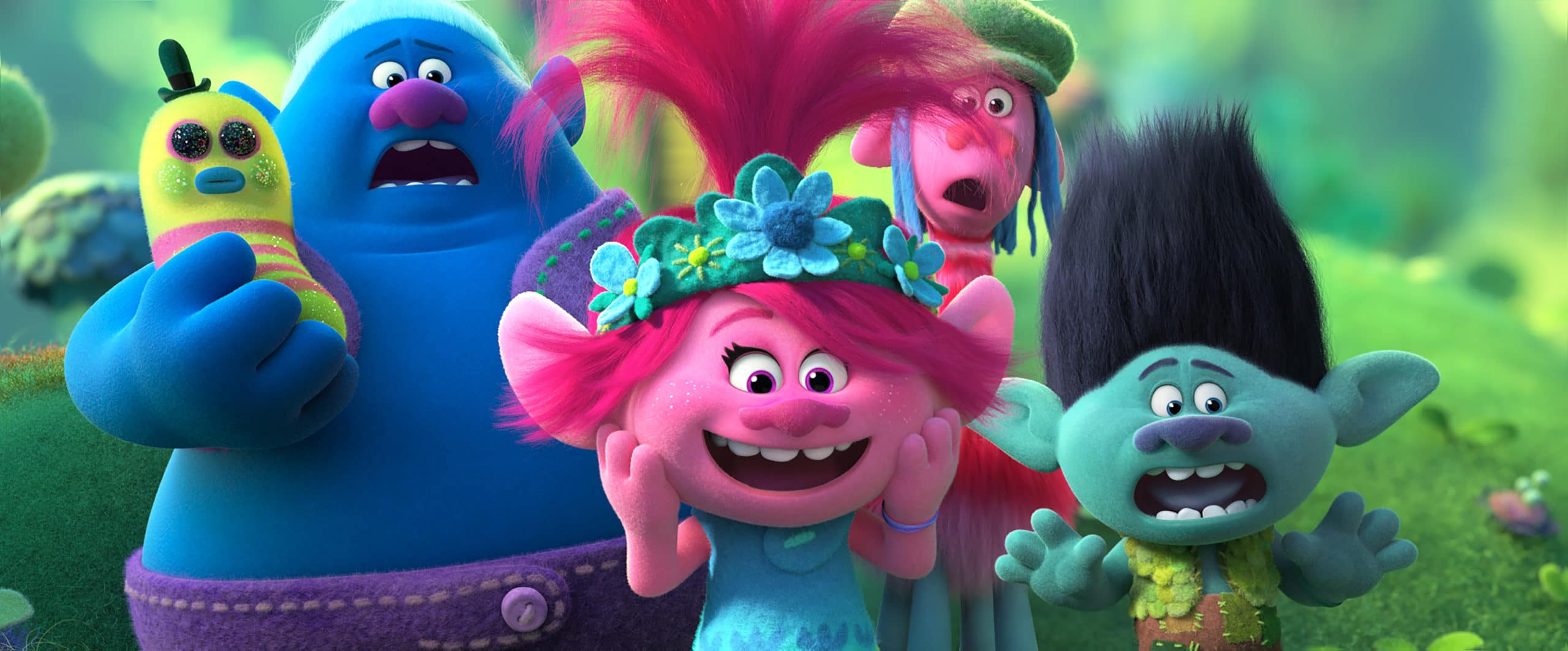 Biggie (James Corden), Poppy (Anna Kendrick), Cooper (Ron Funches), and Branch (Justin Timberlake). Queen Poppy, Branch, and the rest of your favorite Trolls are back for another musical adventure that's bigger and louder than ever before! In TROLLS WORLD TOUR, Poppy and Branch discover that their kingdom is only one of six musical realms Funk, Country, Techno, Classical, Pop, and Rock that was once united in perfect harmony.