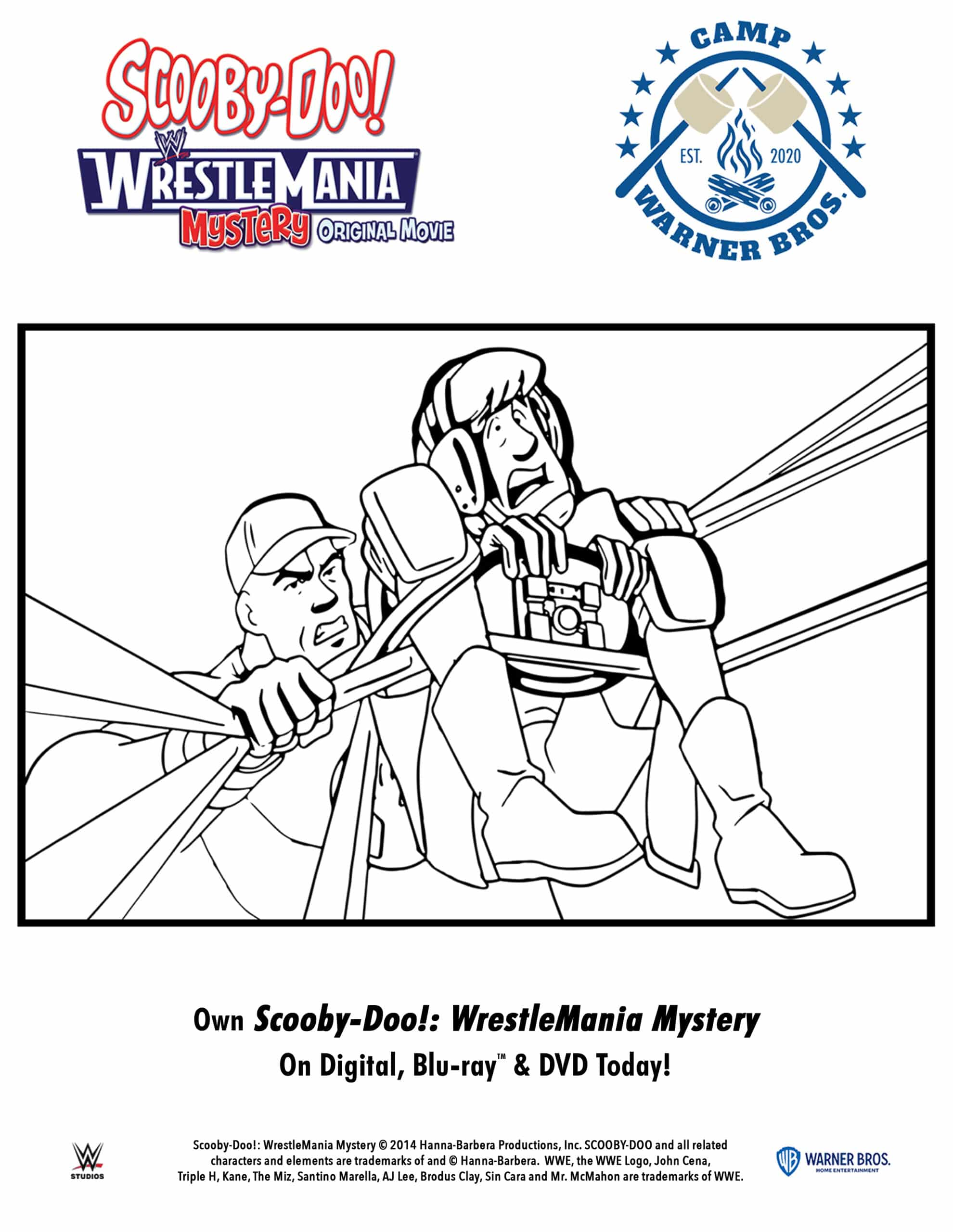 Scooby-Doo!: WrestleMania Mystery Coloring pages. When Shaggy and Scooby win tickets to WrestleMania®, they convince the entire Mystery Inc. gang to travel to WWE City in the Mystery Machine to enjoy the show. Scooby-Doo!: WrestleMania Mysteryis now available to own on Digital, Blu-ray & DVD