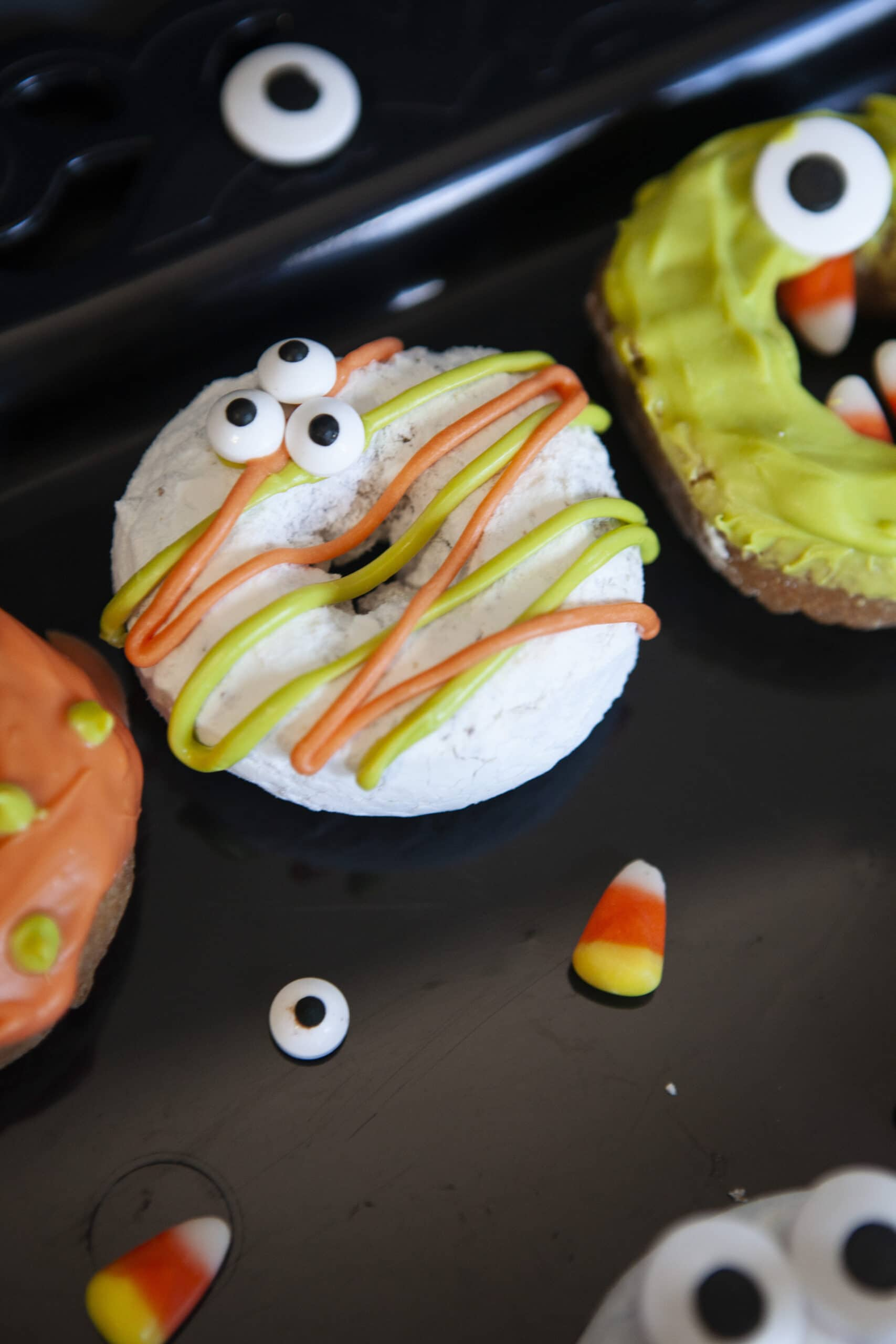 Monster Donuts Crazy Eyes. Make these spooky cute Monster Donuts for your next Halloween event. Made with your favorite donuts as a base, you can create and decorate vampires, mummies, and other iconic edible Halloween monsters.
