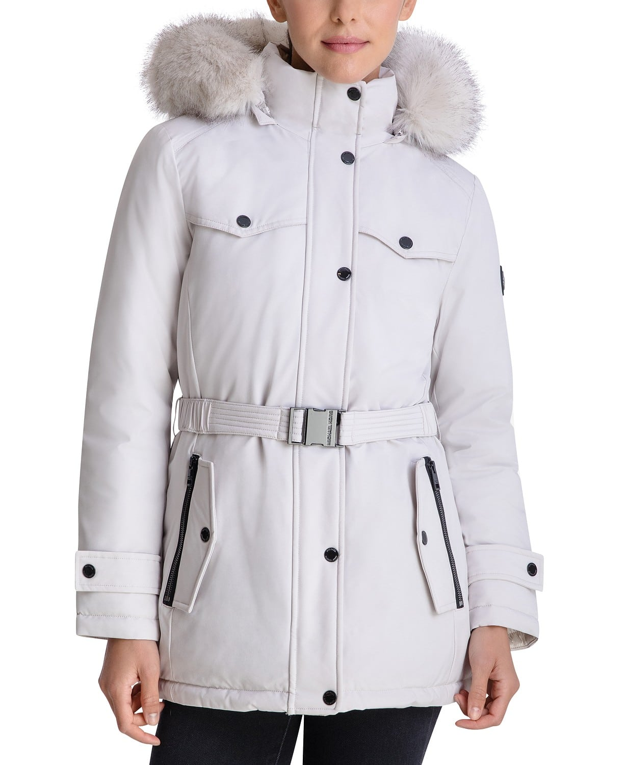 Keep your cold-weather look on point with Michael Michael Kors' belted puffer coat. Face-framing faux-fur trim adds the perfect finishing touch.