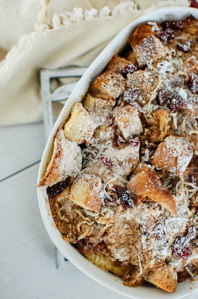 Overnight Coconut Cranberry French Toast Bake takes the work out of breakfast. Prepare this dish the night before in less than 15 minutes, wake up, and pop it in the oven for a warm, delicious breakfast.