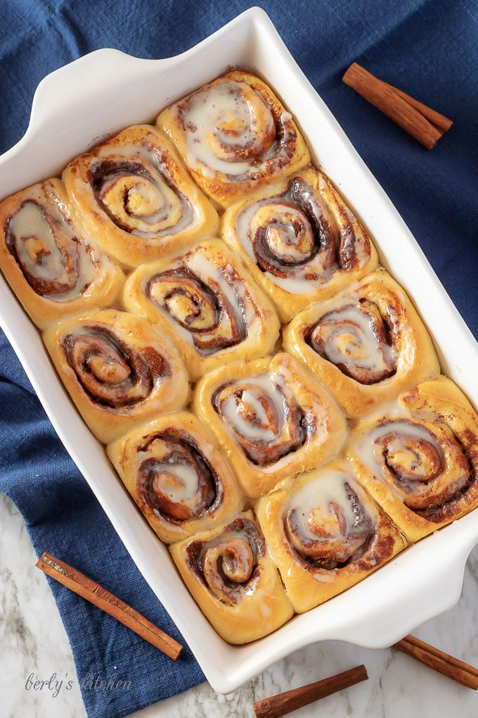 Easy Cinnamon Rolls are one of the best breakfasts, or desserts, around. Our version is soft, light, and packed with brown sugar and cinnamon. After the cinnamon rolls bake to a beautiful golden brown, they're drizzled with a sweet vanilla glaze.