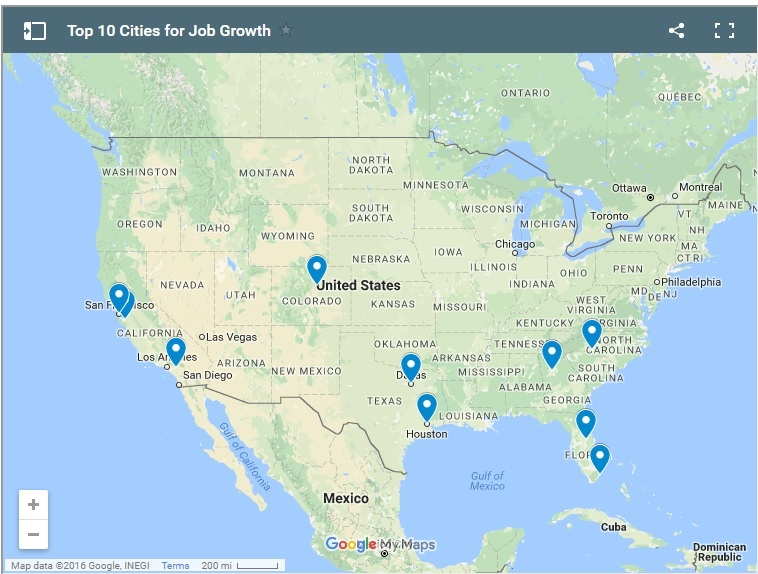 Top 10 Cities & States for Job Growth Rate