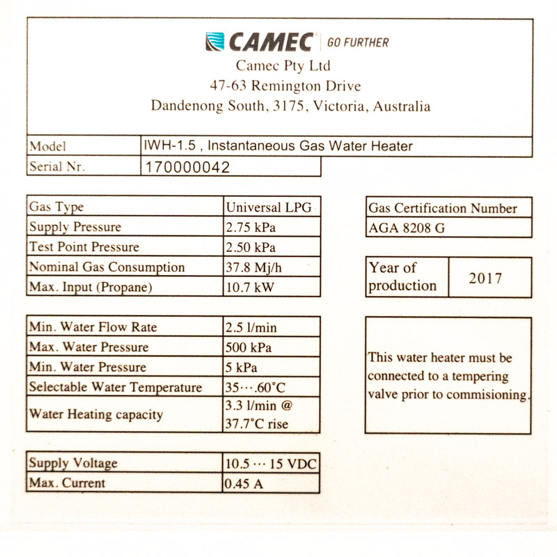 Hot water unit specs plate