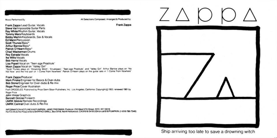 Ship Arriving Too Late To Save A Drowning Witch - Frank Zappa - Cover & Backcover