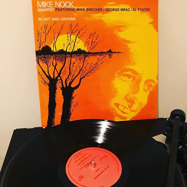 Hearing Michael Brecker on this terrific post-bop/modal recording is inspiring. Brecker's impressive career covered a ton of ground across a wide variety of genres, but as many hear him in rock, jazz-rock or fusion contexts; 'In Out and Around' may take you by surprise. As Brecker's tenor isn't competing with a hyper-busy fusion rhythm section or fading in the outro of a rock/pop tune, he's freer to take a more patient approach to the construction of his solos, which build and soar to incredible heights where the marriage of soul and technique peaks PERFECTLY. Great interplay amongst this quartet which includes pianist Mike Nock, bassist George Mraz and drummer Al Foster, all of whom crush it but Brecker steals the show here. An easy, inexpensive slice of vinyl to acquire and readily available digitally as well. About that album art though… #jazz #vinyl #nowspinning #jazzvinyl #vinylcollection #michaelbrecker #cratedigger #dustyfingers #vinyligclub #igjazz