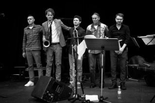 Besetzung: Lou Lecaudey (tb), Tobias Meinhart (ts,bcl), Lorenz Kellhuber (p), Rocky Knauer (b), Valentin Schuster (d). Foto: Petra Basche