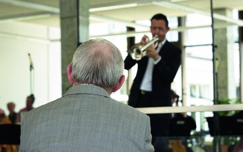 Tag der Musik. Till Brönner spielt für Wolfgang Schäuble. Foto: Hufner
