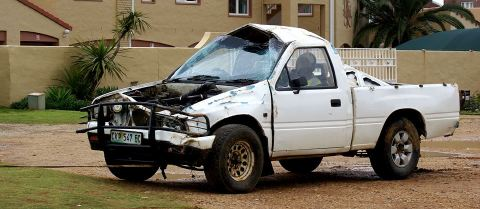 One of the bakkie's involved in the accident. Photo: Robbie Irlam