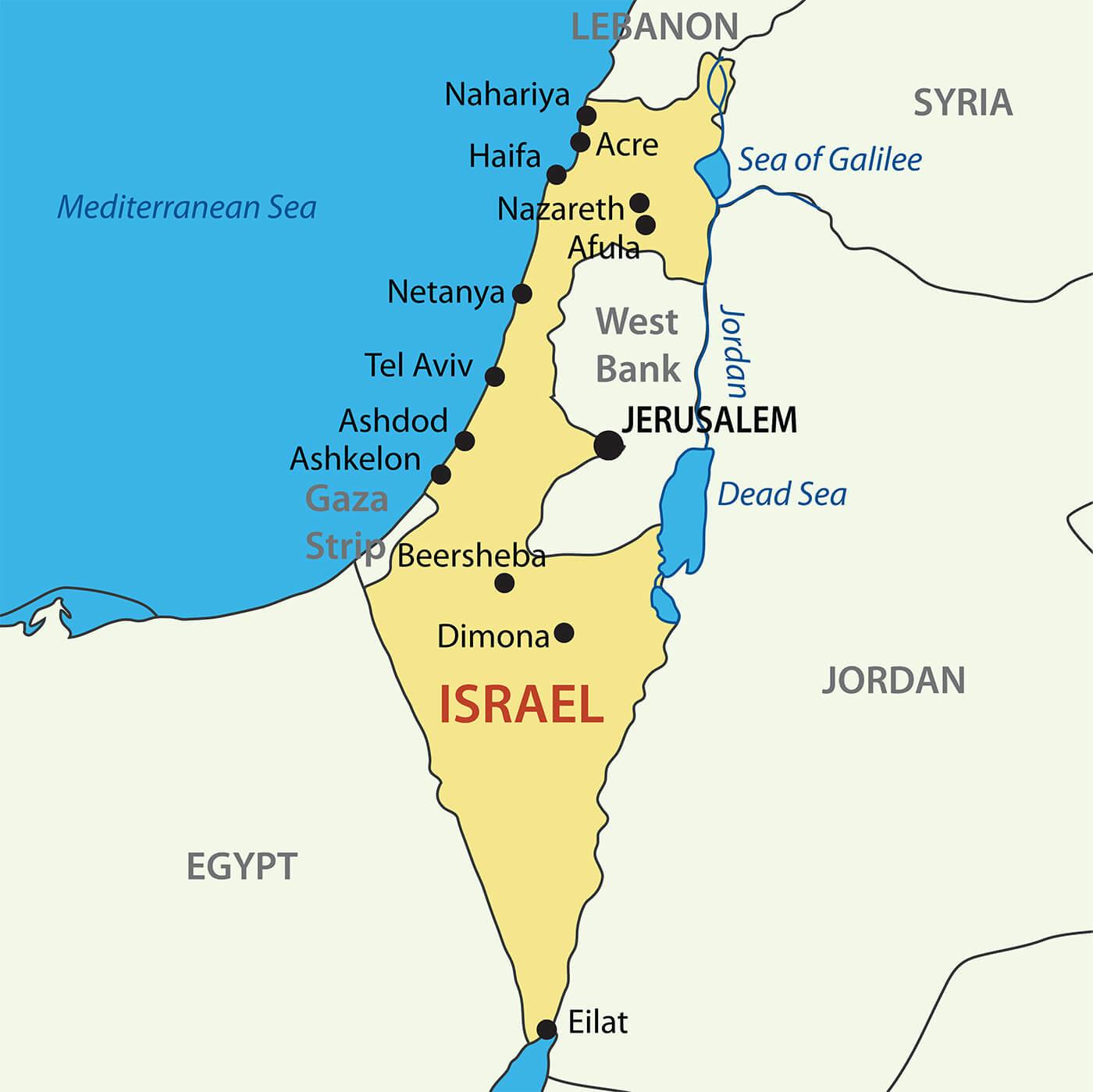Israel map 1 JBAY News