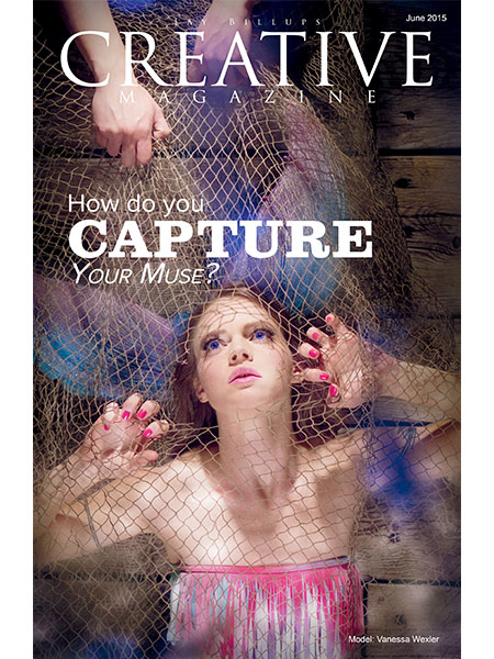 Magazine cover. Mermaid being captured in net by sailor aboard an old ship