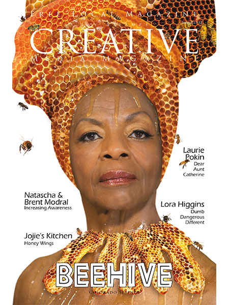 Magazine cover. Honey dripping down models gace and head wrap made of honey comb