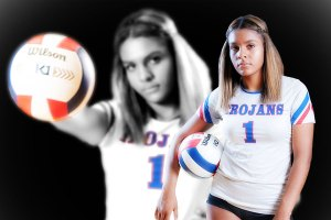 Senior photo African American student with volleyball and palming ball in uniform