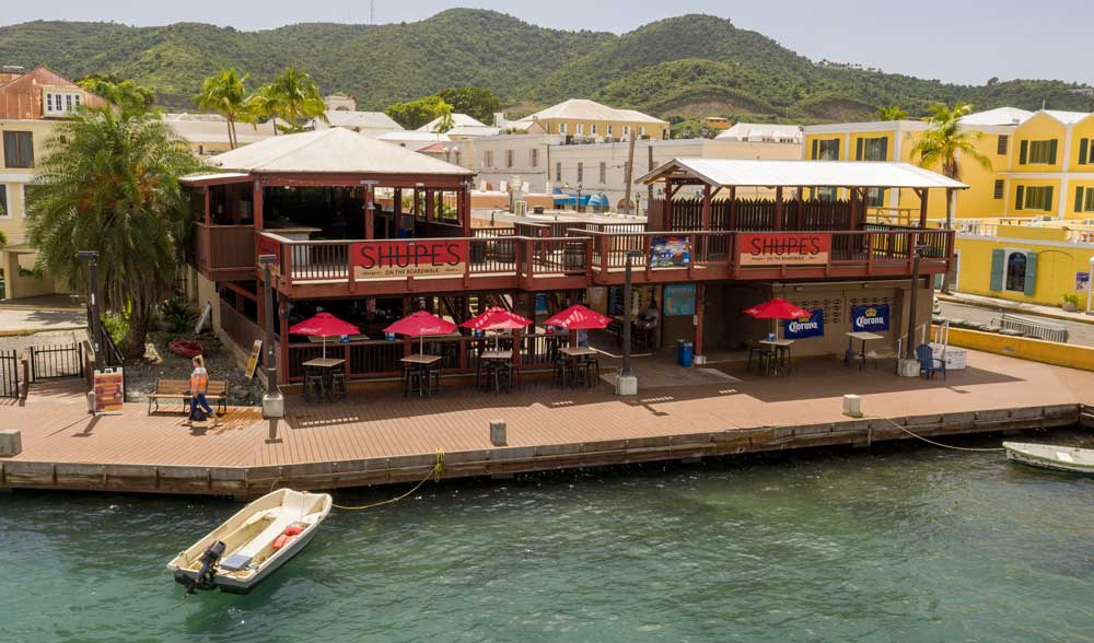 Aerial view of restaurant is St Croix USVI from the water