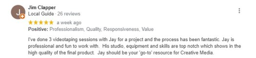 Google 5-start review for Jay Billups Creative Media video production.