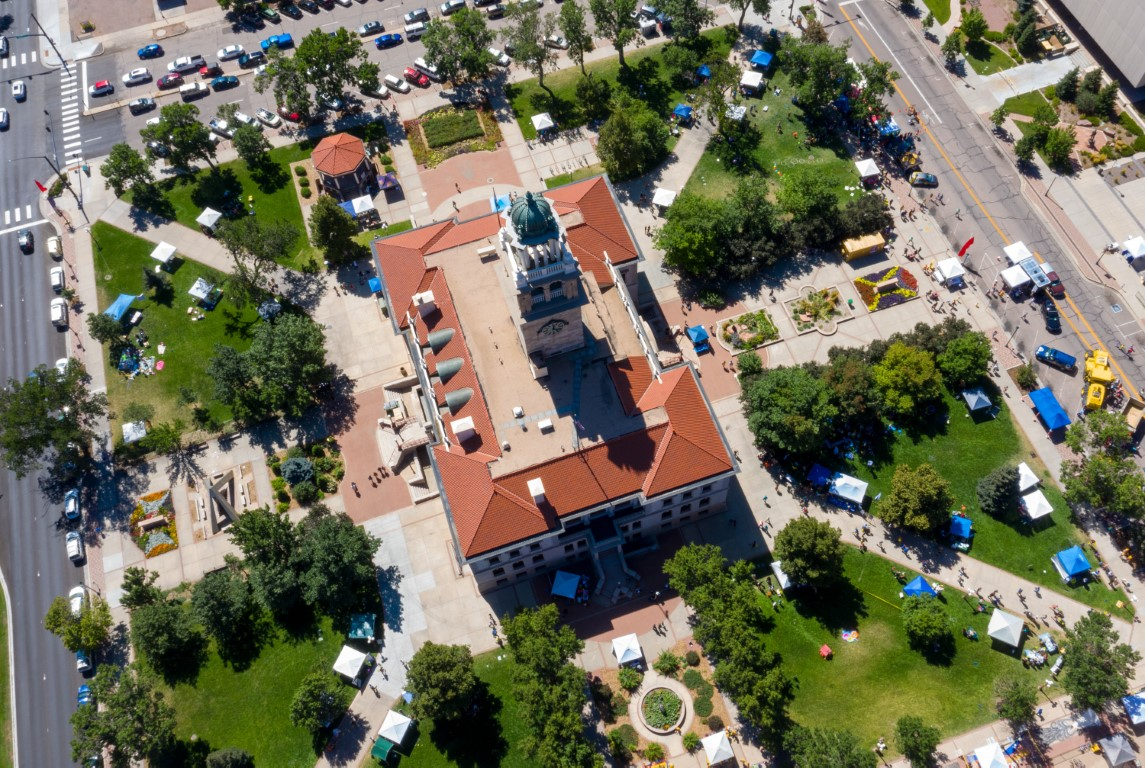 Aerial view of the Pioneers Museum and surrounding park area in downtown Colorado Springs