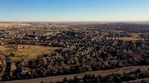 Drone video of Colorado Springs Neighborhood a little urban sprawl