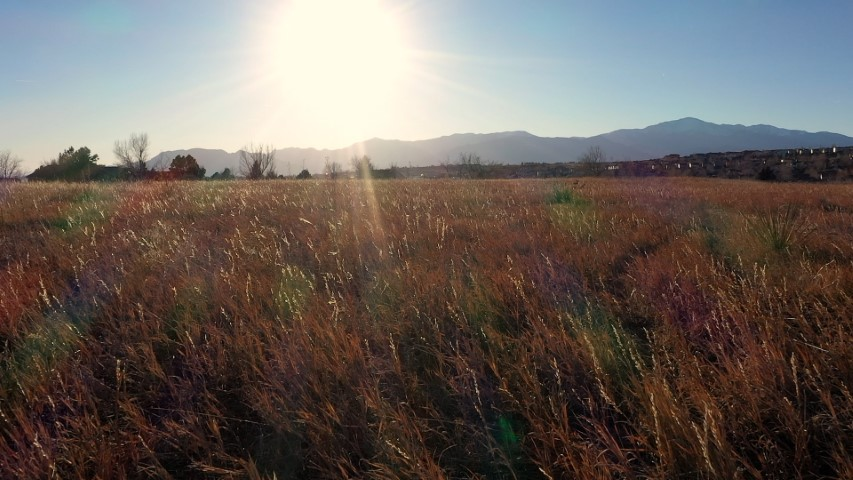 Low Aerial video of a grassy field on the East side of Colorado Springs heading directly towards the sun