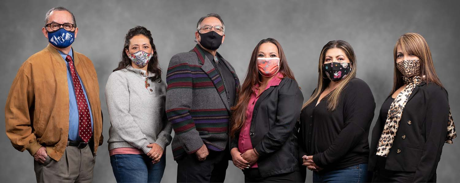 Group portrait of 6 people from the Colorado Springs Hispanic Chamber of Commerce wearing their covid mask