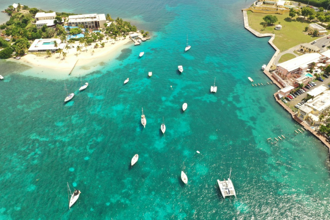 Aerial view Sail boats docked in harbor in St Croix USVI