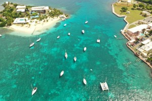 Aerial drone of sailboats in the St Croix harbor USVI