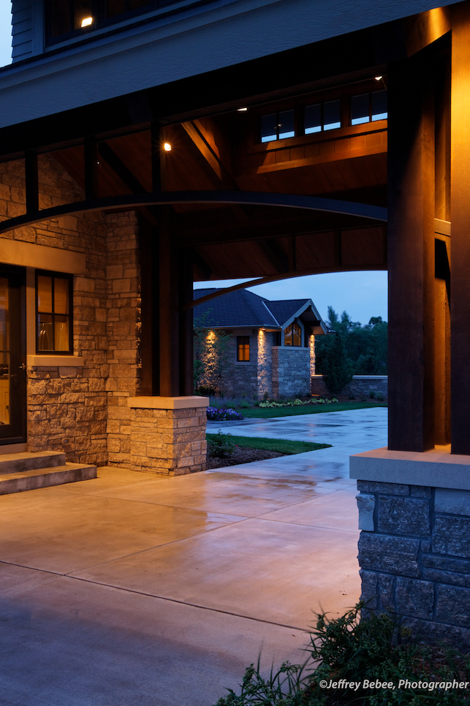 View from the Porte-Cochere to the Motor Court and entry way