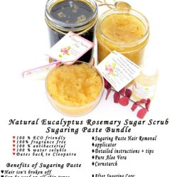 JBHomemade Natural Rosemary Eucalyptus Sugar Scrub Sugaring Paste Bundle