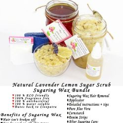 JBHomemade Natural Lavender Lemon Sugar Scrub Sugaring Wax Bundle