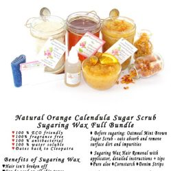 JBHomemade Natural Orange Calendula Sugar Scrub Sugaring Wax Full Bundle