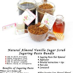 JBHomemade Natural Almond Vanilla Brown Sugar Scrub Sugaring Paste Bundle