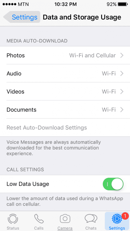 how to reduce data and storage usage on WhatsApp on iOS mobile devices