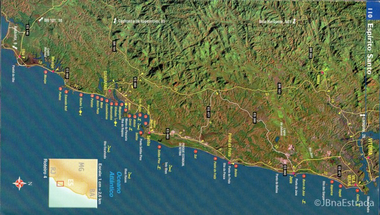Brasil - Espirito Santo - Passos de Anchieta - Mapa de Praias