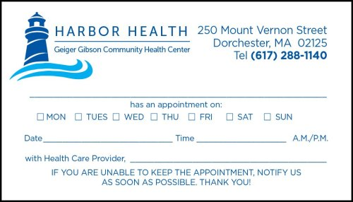 Geiger Gibson Medical Appointment Card