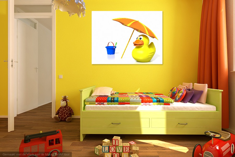 Rubber duck at the beach - Werk aan de Muur