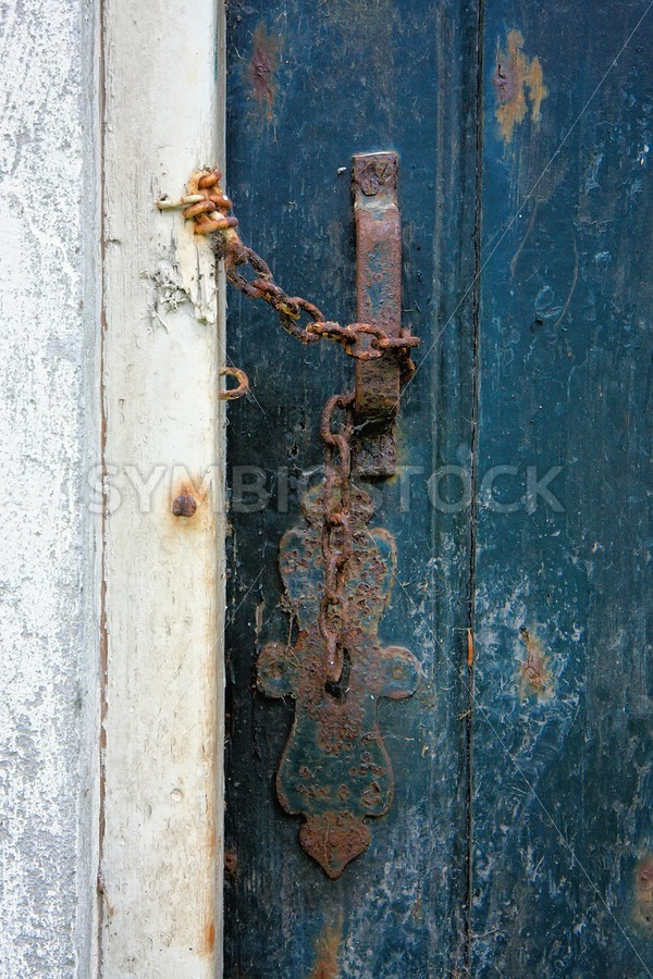 Old door entrance of ruined building.