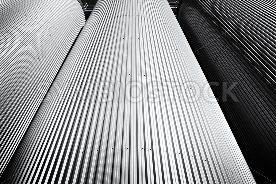 Three silo's in Black and White