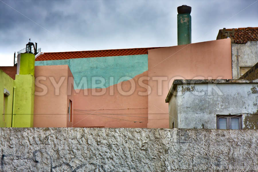 Colorful Buildings Grey Surrounding - Jan Brons Stock Images