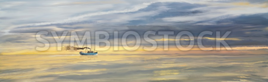 Old Cargo Ship Steaming on the Horizon - Jan Brons Stock Images