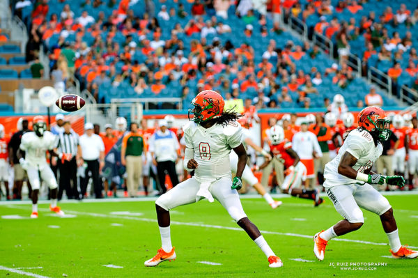 FAMU QB, Kenneth Coleman, loses the ball as he attempts a pass