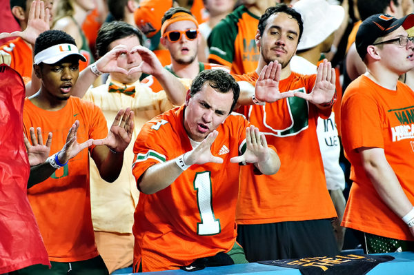 Hurricanes fans get excited for the camera crews
