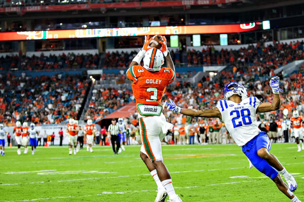 Stacy Coley hauls in a catch along the sideline