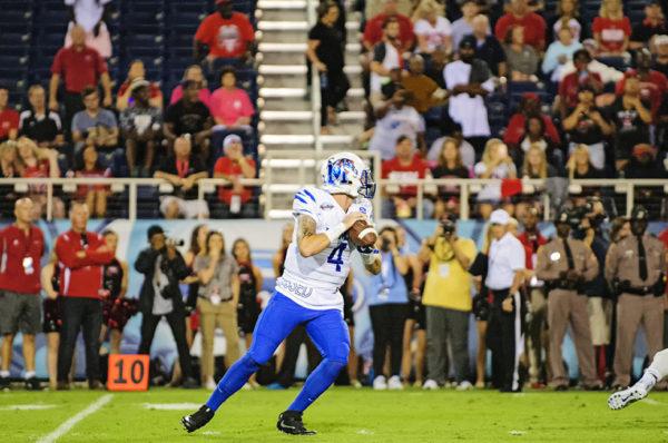 Riley Ferguson, Memphis QB, looks downfield for an open receiver