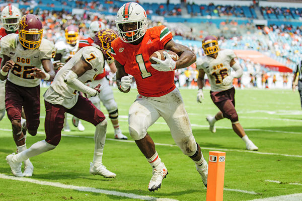 Hurricanes RB, Mark Walton rushes for his 2nd touchdown of the game