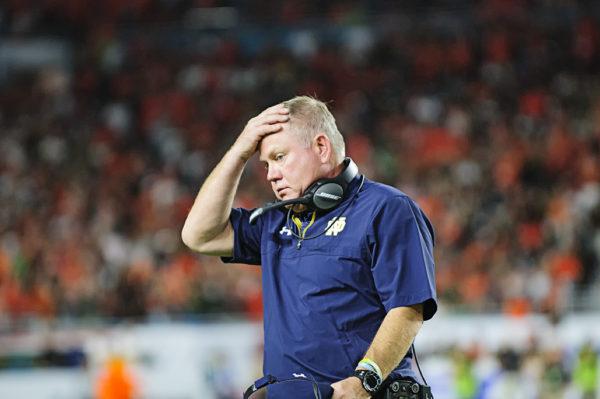 Notre Dame head coach Brian Kelly