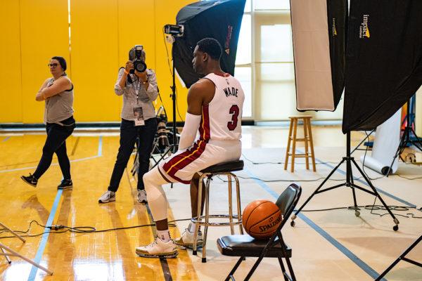 Dwyane Wade sits for his photo