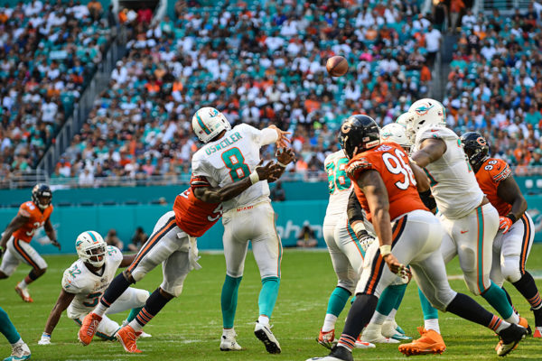 Chicago Bears inside linebacker Danny Trevathan (59) hits Miami Dolphins quarterback Brock Osweiler (8) as he throws