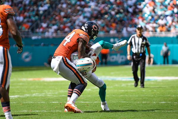 Chicago Bears outside linebacker Leonard Floyd (94) picks up Miami Dolphins wide receiver Danny Amendola (80) prior to slamming him down WWE style